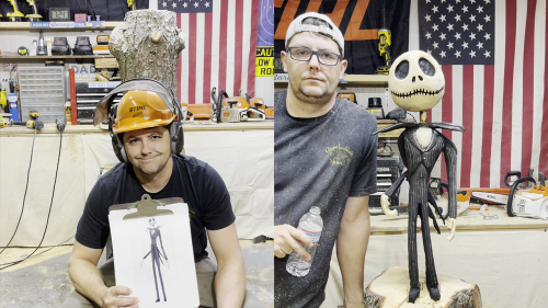 'Chainsaw Artist from Kentucky Carves Jack Skellington'