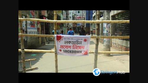 Locals set up bamboo barricades due to coronavirus in Dhaka, Bangladesh 5
