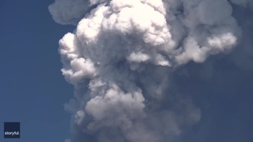 Ash From Mount Etna Plumes Above Charming Sicilian City