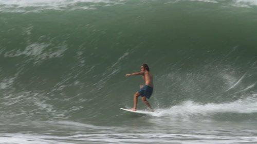 Pro Surfer Swallowed by Huge Wave Barrel