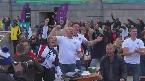 England fans celebrate Czech Republic victory