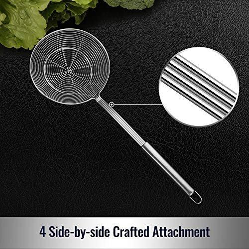 Stainless steel strainer skimmer ladle