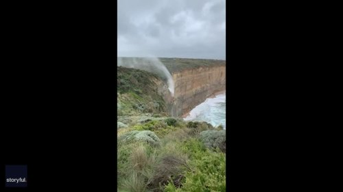 Waterfall Defies Gravity Due to Strong Winds at Port Campbell National Park