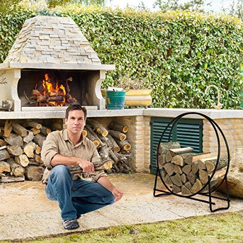 Tubular steel wood rack for indoor or outdoor fire pits