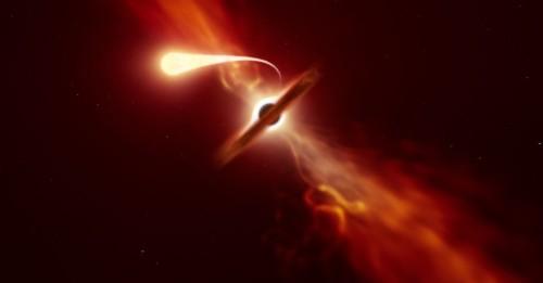 Astronomers caught a black hole slurping up a star like spaghetti