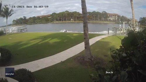 Surveillance Footage Captures Motorboat Smashing Into 2 Palm Beach Gardens Docks
