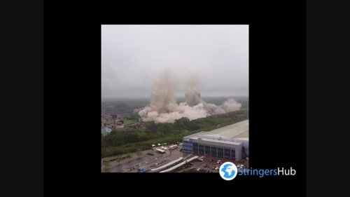 UK: Drone footage of Rugeley power station's demolition in Staffordshire