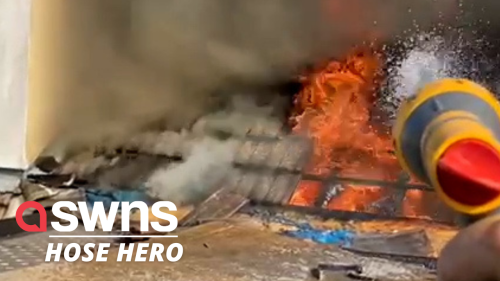 Modest hero praised for using a GARDEN HOSE to extinguish a fire (RAW)