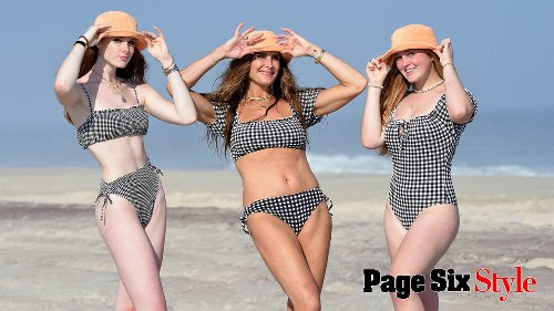 Brooke Shields, 56, matches with teen daughters in gingham swimsuits