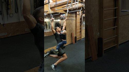 Ninja Dad Swings Son in Home Workout