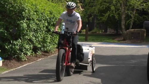 Jersey Proud: Man rides bicycle around the country to raise money for senior citizens