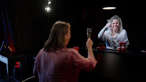 Two friends separated by the pandemic enjoy a meal 'together' thanks to a 3D hologram