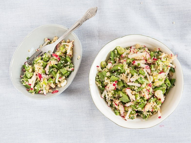 Try this recipe tonight: Quinoa salad with sugar snap peas, scallions, and mint