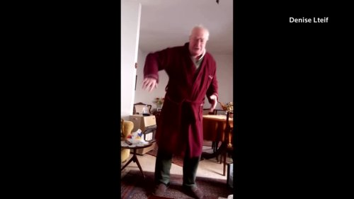 Lebanese grandfather celebrates after receiving COVID-19 vaccine