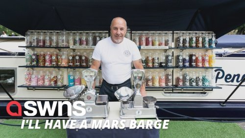 UK former market trader who came out of retirement sets up a successful sweet shop - on a canal barge