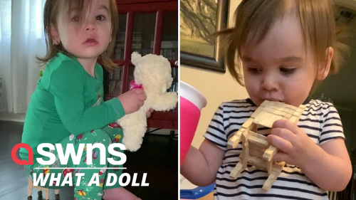 Watch this adorable tot, who insists on sitting on a doll's chair to watch TV (RAW)