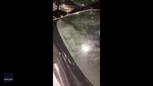 Giant Hail Shatters Car Window in Keller, Texas, Amid Tornado Warning