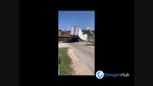 US: Train Collides With 18-Wheeler Truck Stuck On Railroad Crossing In Richmond, TX