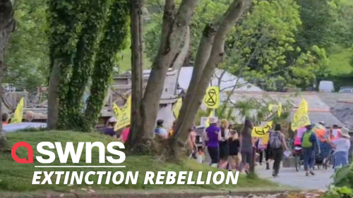UK Extinction Rebellion protestors marched through Cornwall ahead of the G2 summit (RAW)