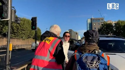 Tearful woman pleads with Insulate Britain protesters to let her get to sick mother in hospital