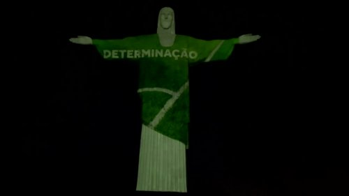 Rio's Christ lit up to mark 100 days until Olympics