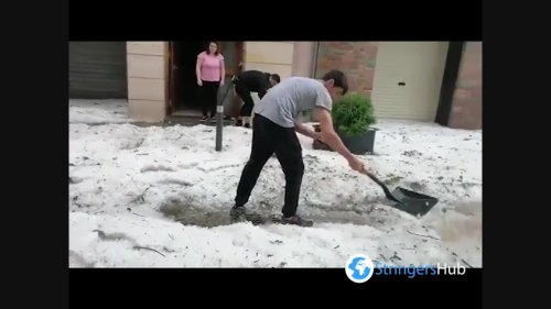 Spain: Severe storm dumps thick layer of hail on streets in Ribes De Freser, Girona