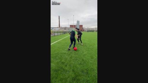 Guy Nutmegs Friend in Football Dribble