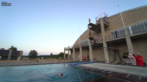 Acrobatics Expert Does a 10 Meter Pool Dive