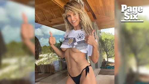 Heidi Klum roots for Germany's soccer team in dangerously tiny crop top