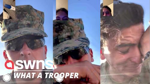 US marine bursts into tears after sister reveals positive pregnancy test