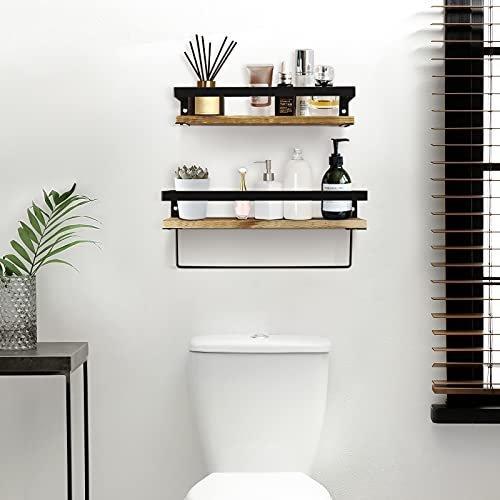 Durable bathroom shelf with towel bar