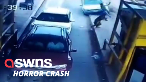 Terrifying moment a speeding car hits two people before hurling into two parked cars in Noida, India