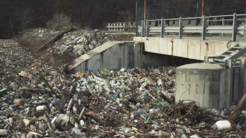 Floating islands of rubbish pollute Bulgaria's rivers after days of heavy rainfall