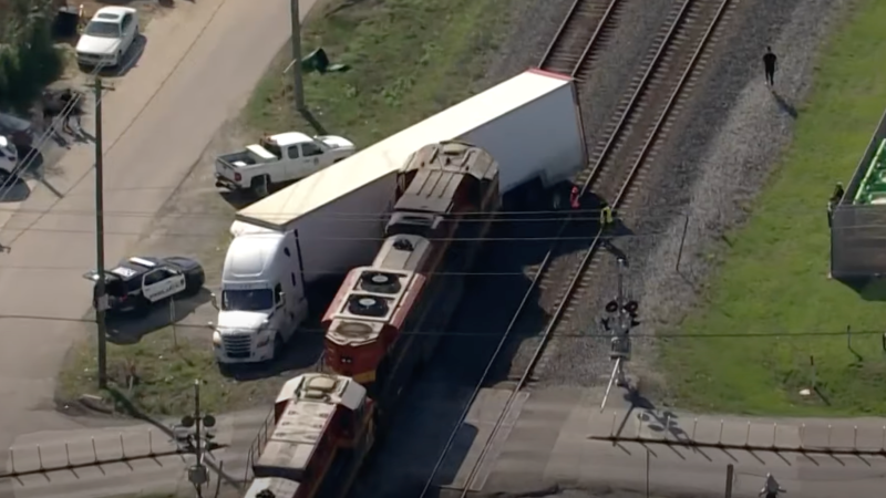 Semi Carrying Ferrari SF90, And Other High-End Cars Struck By Train In Houston