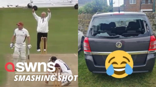 Disastrous moment a UK club cricketer unleashed a beastly shot that smashed his OWN CAR (RAW)