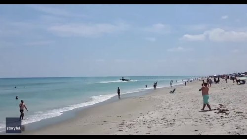 World War II-Era Plane Lands Close to Busy Beach During Florida Air Show
