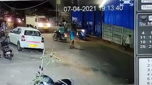 Drunk Pedestrian Collides With Truck in India