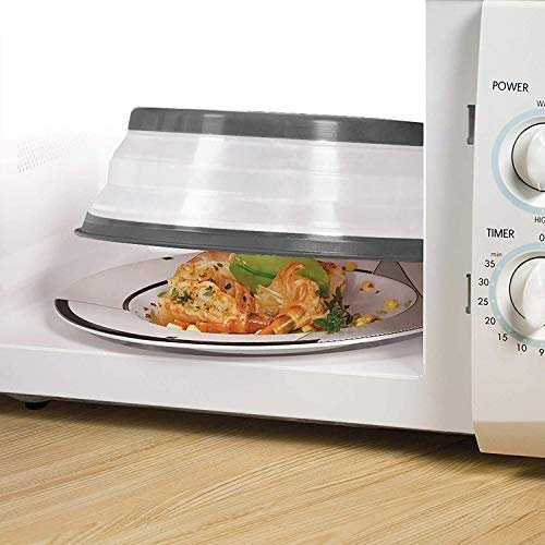 Collapsible microwave splatter plate cover