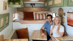 Newlyweds Quit Jobs, Travel the Country in Custom 70 Square Foot Tiny Van Home