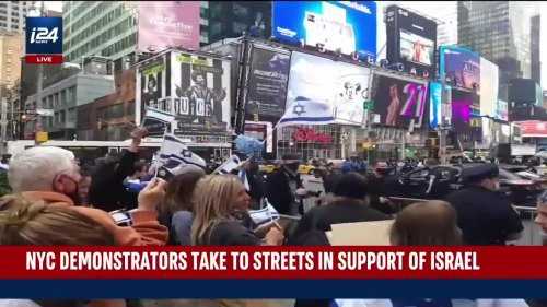 NYC Demostrators Show Support for Israel in Times Square Solidarity Event