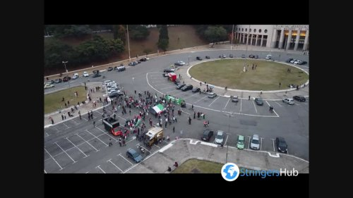 Aerial footage of pro-Palestine protest in São Paulo, Brazil