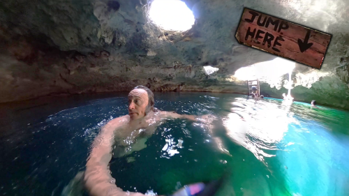 'Adventure Lover Jumps into Cenote Calavera (Tulum, Mexico)'