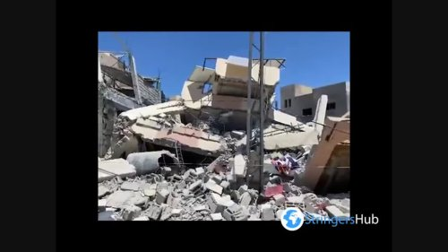 Destroyed Gaza and a funeral ceremony
