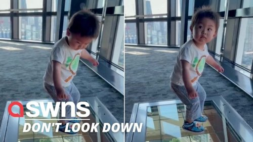 Watch the hilarious moment a toddler reacts to a glass floor viewing platform of Tokyo streets (RAW)
