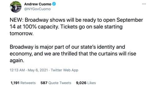Broadway to reopen its doors in September