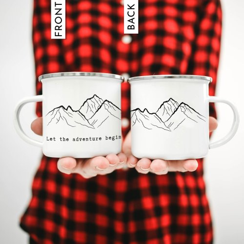 Personalized coffee mugs with mountains