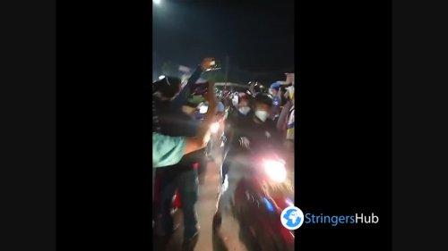 Homecomers break the restriction of homecoming ban in Kedungwaringin, Bekasi Indonesia