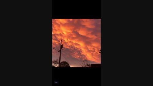 Colorful Sunrise Illuminates Mammatus Clouds Over Southeast Kentucky