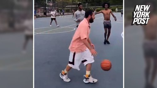 Adam Sandler pickup hoops game goes viral for his outfit and teammates