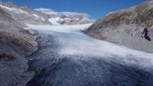 Aerial View of the Rhone Glacier Reveals an Uncertain Future for Europe